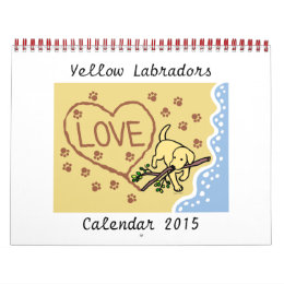 Yellow Labrador Retriever Cartoon Calendar 2015
