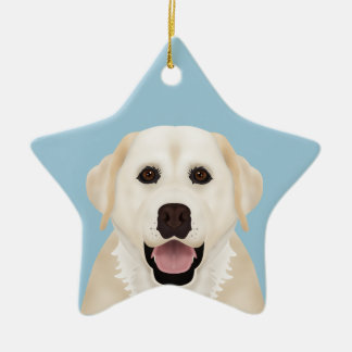 yellow labrador retriever cartoon ceramic ornament