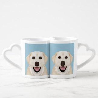 yellow labrador retriever cartoon coffee mug set