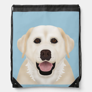 yellow labrador retriever cartoon drawstring bag
