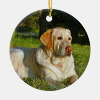 Yellow Labrador Retriever Ceramic Ornament