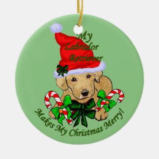 Yellow Labrador Retriever Christmas Ceramic Ornament