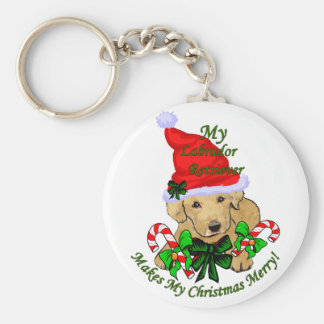 Yellow Labrador Retriever Christmas Gifts Keychain