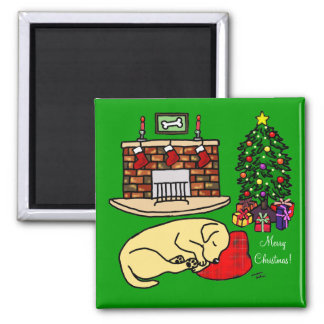 Yellow Labrador Retriever Christmas Magnets