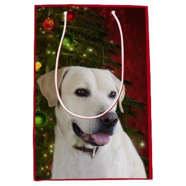 Christmas Themed Yellow labrador retriever Christmas Medium Gift Bag