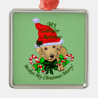Yellow Labrador Retriever Christmas Metal Ornament