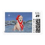 Yellow Labrador Retriever Christmas Stamp