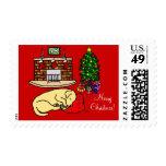 Yellow Labrador Retriever Christmas Stamps