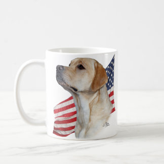 Yellow Labrador Retriever head and American Flag Coffee Mug