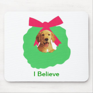 Yellow Labrador Retriever Holiday Christmas Wreath Mouse Pad