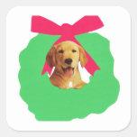 Yellow Labrador Retriever Holiday Christmas Wreath Stickers