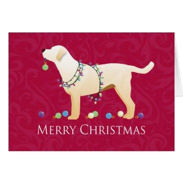 Christmas Themed Yellow Labrador Retriever Merry Christmas Design Card