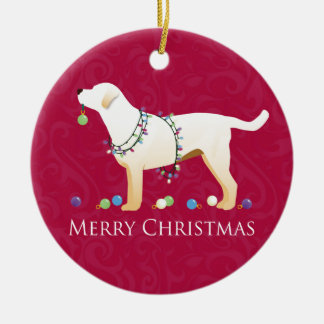 Yellow Labrador Retriever Merry Christmas Design Ceramic Ornament