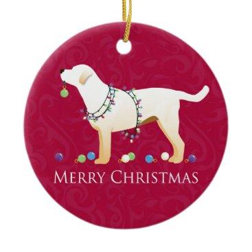 Christmas Themed Yellow Labrador Retriever Merry Christmas Design Ceramic Ornament