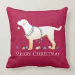 Yellow Labrador Retriever Merry Christmas Design Pillow