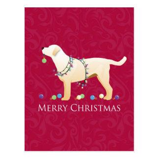 Yellow Labrador Retriever Merry Christmas Design Postcard