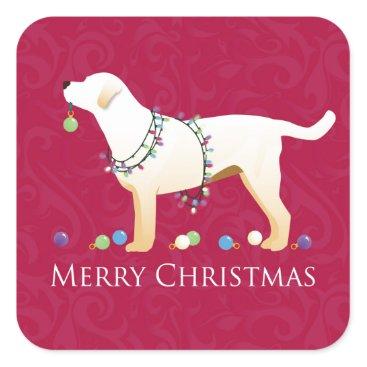 Christmas Themed Yellow Labrador Retriever Merry Christmas Design Square Sticker
