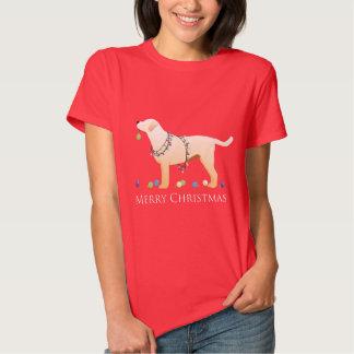 Yellow Labrador Retriever Merry Christmas Design T Shirts
