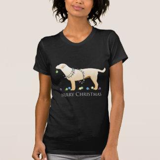 Yellow Labrador Retriever Merry Christmas Design Tee Shirt
