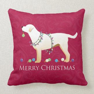 Yellow Labrador Retriever Merry Christmas Design Throw Pillow