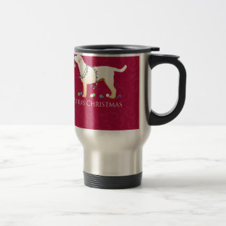 Yellow Labrador Retriever Merry Christmas Design Travel Mug