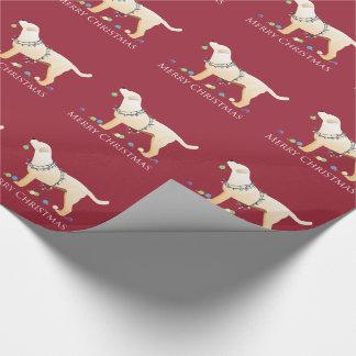Yellow Labrador Retriever Merry Christmas Design Wrapping Paper