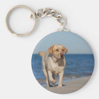 Yellow labrador retriever on the beach keychain