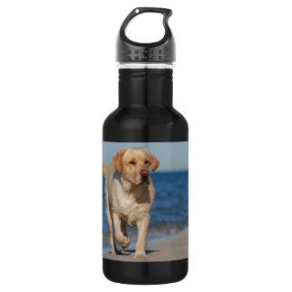 Yellow labrador retriever on the beach 18oz water bottle