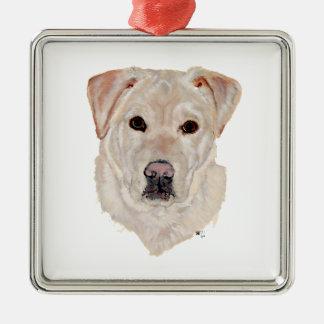 Yellow Labrador Retriever Square Metal Christmas Ornament