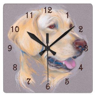 Yellow Labrador Retriever Portrait Square Wall Clock