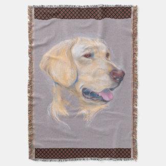 Yellow Labrador Retriever Portrait Throw Blanket