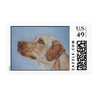Yellow Labrador Retriever postage stamp