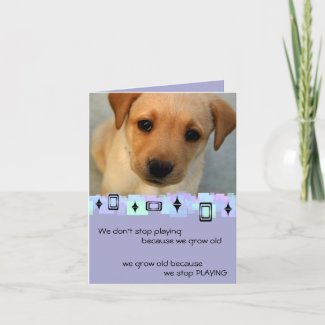 Yellow Labrador Retriever Puppy Birthday Greetings Card