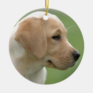 Yellow labrador retriever puppy ceramic ornament