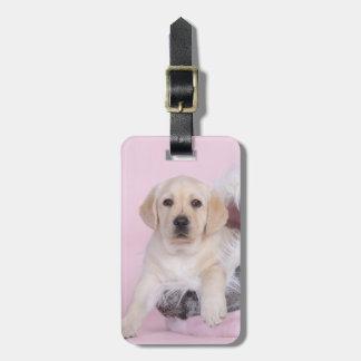 Yellow labrador retriever puppy tag for luggage