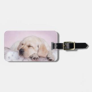 Yellow labrador retriever puppy luggage tag