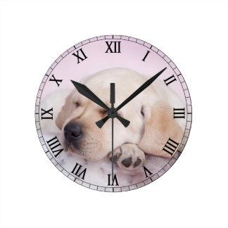 Yellow labrador retriever puppy round clock
