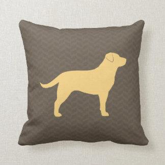Yellow Labrador Retriever Silhouette Throw Pillow