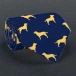 """Yellow Labrador Retriever Silhouettes Pattern Neck Tie<br><div class=""""desc""""></div>"""