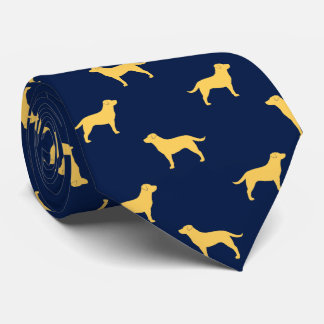 Yellow Labrador Retriever Silhouettes Pattern Neck Tie