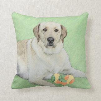 Yellow Labrador Retriever & Tennis Balls Painting Throw Pillow