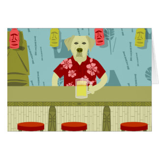 Yellow Labrador Retriever Tiki Bar Card