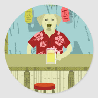 Yellow Labrador Retriever Tiki Bar Classic Round Sticker