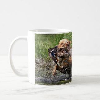 Yellow Labrador Retriever with duck mug