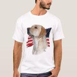 Yellow Labrador Retriever with Flag T-Shirt