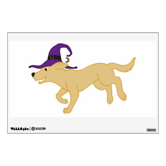 Yellow Labrador Retriever with Witch Hat Wall Stickers