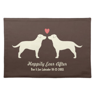 Yellow Labrador Retrievers with Heart and Text Cloth Placemat