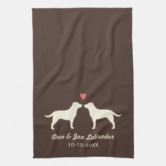Yellow Labrador Retrievers with Heart and Text Hand Towel