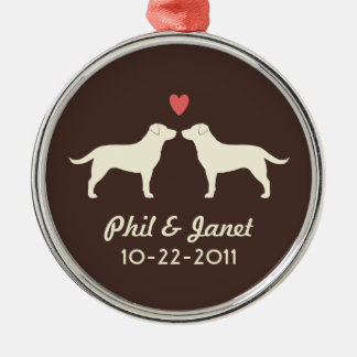 Yellow Labrador Retrievers with Heart and Text Metal Ornament