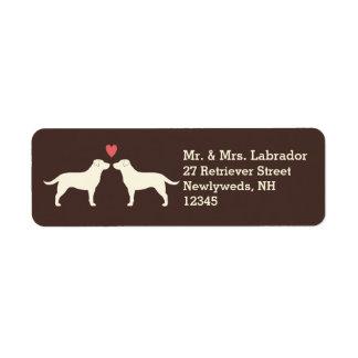 Yellow Labrador Retrievers with Heart Custom Return Address Label